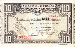 10 PTS  BILBAO  1937 - [ 3] 1936-1975 : Régence De Franco