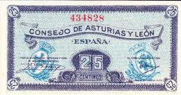 25 CTS ASTURIAS Y LEON 1936 - [ 3] 1936-1975 : Régence De Franco