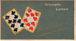 - FRANCE (cartes à Jouer) - MINI-CPSM BRODEE écrite 1951 - Triomphe Certain - Bonne Année - - Cartes à Jouer