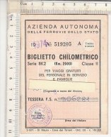 PO6163C# BIGLIETTO CHILOMETRICO FERROVIE DELLO STATO 1974/TRENI F.S. - Week-en Maandabonnementen