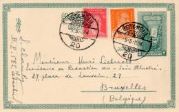 Carte-lettre 1934,  TURQUIE, Un Timbre 2 Unités Imprimé, 2 Timbres Complémentaires, Cachet Istamboul (42.46) - 1934-39 Sandjak D'Alexandrette & Hatay