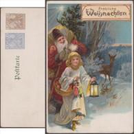 Allemagne 1900. Entier Postal TSC. Fröliche Weihnachten, Joyeux Noël. Père Noël, Faon, Poupées, étoile - Puppen