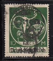 Bavaria Used Scott #274 10m ´Genius´ Overprinted Deutfches Reich - Bavière
