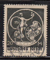 Bavaria Used Scott #275 20m ´Genius´ Overprinted Deutfches Reich - Bavière