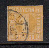 Bavaria Used Scott #9 1kr Numeral In Complete Circle, Yellow - Bavière