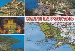 Cp , CARTES Géographiques , Saluti Da Positano , Îtalie , Multi-Vues - Carte Geografiche