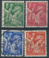 1939-41 FRANCIA USATO IRIS 4 VALORI - ED178 - 1939-44 Iris