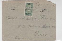 TOGO - 1922 - SEUL Sur ENVELOPPE De LOME (CACHET ALLEMAND) Pour PARIS - Togo (1914-1960)