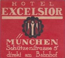 GERMANY MUENCHEN HOTEL EXCELSIOR VINTAGE LUGGAGE LABEL