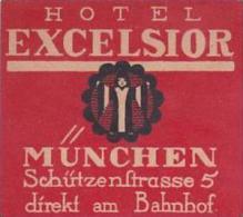 GERMANY MUENCHEN HOTEL EXCELSIOR VINTAGE LUGGAGE LABEL - Hotel Labels