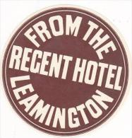 ENGLAND LEAMINGTON REGENT HOTEL VINTAGE LUGGAGE LABEL