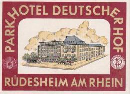 GERMANY RUEDESHEIM PARKHOTEL DEITSCHER HOF VINTAGE LUGGAGE LABEL