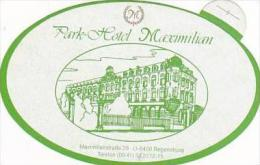 GERMANY REGENSBURG PARK HOTEL MAXIMILIAN LIGHT GREEN VINTAGE LUG