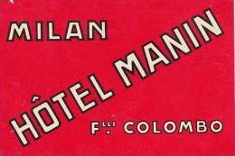 ITALY MILAN HOTEL MANIN VINTAGE LUGGAGE LABEL