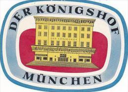 GERMANY MUENCHEN DER KOENIGSHOF VINTAGE LUGGAGE LABEL