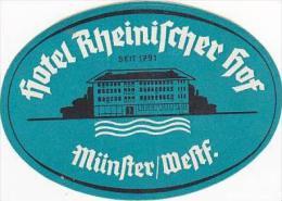GERMANY MUENSTER HOTEL RHEINISCHER HOF VINTAGE LUGGAGE LABEL