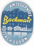 GERMANY ROTTACH-EGERN HOTEL BACHMAN VINTAGE LUGGAGE LABEL