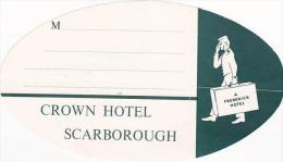 ENGLAND SCARBOROUGH CROWN HOTEL VINTAGE LUGGAGE LABEL