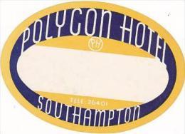ENGLAND SOUTHAMPTON POLYCON HOTEL VINTAGE LUGGAGE LABEL