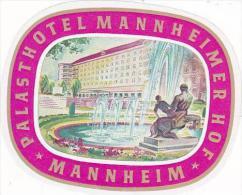 GERMANY MANNHEIM PALASTHOTEL MANNHEIMER HOF VINTAGE LUGGAGE LABE