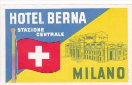 ITALY MILANO HOTEL BERNA VINTAGE LUGGAGE LABEL