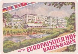 GERMANY BADEN BADEN HOTEL EUROPAEISCHER HOF VINTAGE LUGGAGE LABE