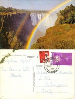 ZAMBIA 1964-5 Postcard Showing Rainbow Over Victorial Falls, VF Used - Zambia