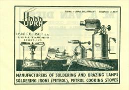 Reclame Uit 1948 - Manufacturers Of Oldering And Brazing Lamps - Usines De Raet S.A. - Bruxelles - Publicités