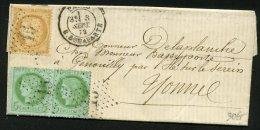 PARIS: Pli Avec 10c + 5c CERES Dentelé Oblt Etoile 15 +CàDate PARIS R. BONAPARTE P GENOUILLY - 1849-1876: Période Classique