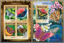m14224ab Mozambique 2014 Butterflies I Flower 2 s/s