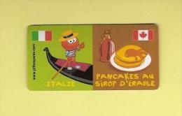 * MAGNET : Marque Repère ( LECLERC ) : Domino :  ITALIE  /  Pancakes Au Sirop D´ Erable..Scans Recto Et Verso - Magnets