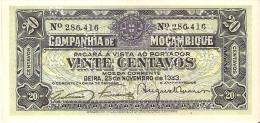 BILLETE DE MOZAMBIQUE DE 20 CENTAVOS DEL AÑO 1933 (BANKNOTE) SIN CIRCULAR-UNCIRCULATED - Mozambique