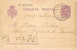 9737. Entero Postal MASSANET De La SELVA (Gerona) 1929, Alfonso XIII - Enteros Postales