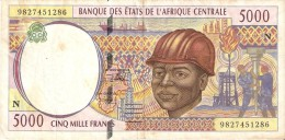 BILLETE DE GUINEA ECUATORIAL DE 5000 FRANCS DEL AÑO 1994  (BANKNOTE) PETROLEO (LETRA N) - Equatorial Guinea
