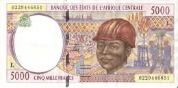 BILLETE DE GABON DE 5000 FRANCS DEL AÑO 1994  (BANKNOTE) PETROLEO (LETRA L) - Gabon