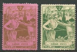 BEGIUM Belgien 1905 Exposition Unierselle Liege Vignetten Cinderella Poster Stamps - 1905 – Liège (Belgium)