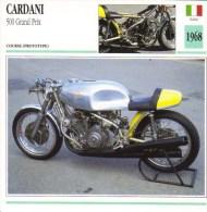 Cardani 500 Grand Prix  -  1968  -   Moto De Course  -  Fiche Technique/Carte De Collection - Motociclismo