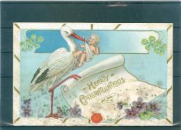 4 Cpa - Relief - Gaufrée - Embossed - Prage - Cigognes - Tâchées En Bas - Oiseaux