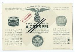 Carte De Visite - Etablissement A. CRESPEL Fils à Coudre  - Lille - Cartes De Visite