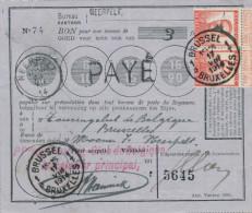 603/22 - Bon De Poste TP Pellens 10 C X 2 - NEERPELT à BRUXELLES 17 VIII 1914 - Griffe PAYE - WW I
