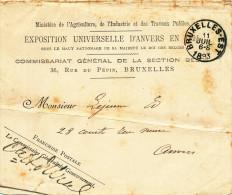 605/22 - Bande D´ IMPRIME - Entete Et Griffe De Franchise Du Commissaire - Exposition Universelle ANVERS 1894 - 1894 – Anvers (Belgique)