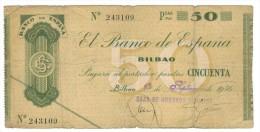 Spain , 50 PESETAS , BILBAO, 1936, VG. - [ 3] 1936-1975: Regime Van Franco