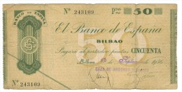 Spain , 50 PESETAS , BILBAO, 1936, VG. - [ 3] 1936-1975 : Regency Of Franco