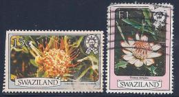 Swaziland, Scott # 354, 358 Used Flowers, 1980, Face Damage - Swaziland (1968-...)