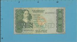 South Africa - 10 RAND - ( 1985 - 90 ) - Pick 120.d - Sign. 6 - Watermark: Jan Van Riebeek - 2 Scans - Afrique Du Sud