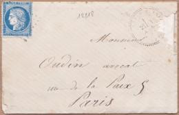 12218# CERES / LETTRE De CHATILLON SUR SEINE Obl GC 38 AISEY SUR SEINE 1873 T24 COTE D'OR Cote 160 Euros - 1849-1876: Klassieke Periode