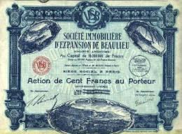 SOCIETE IMMOBILIERE D´EXPANSION DE BEAULIEU (art. N° 65 ) - Tourisme