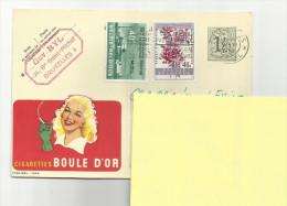 BELGIQUE / CARTE LETTRE / CIGARETTE BOULE D OR / 1962 / + 2 TIMBRES / ENVOI FRANCE / PARFAIT - Publicités