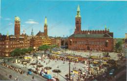 COPENHAGEN, Kobenhavn, Radhuspladsen, Town Hall,Hotel, Tram,bus, Old Car, VW, Old Postcard - Danemark