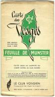 Ancienne Carte Des Vosges 1:50000e Feuille De MUNSTER Haut-Rhin 68 Club Vosgien Topographique 1964 Publicité Garage Zeh - Cartes Topographiques